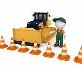 foto of bulldozer  - Yellow bulldozer near traffic cones and 3d small person - JPG