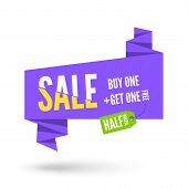 picture of violet  - Violet Origami paper speech bubble with green tag for sale - JPG