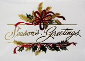 stock photo of christmas cards  - seasons greetings on a christmas card with holly and ribbons - JPG