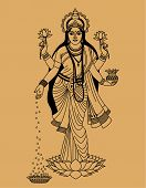 image of goddess  - Hindu goddess of wealth beauty and happiness on a beige background - JPG