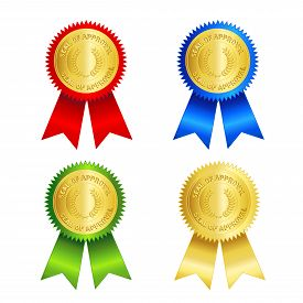 pic of gold medal  - Isolated illustration of a gold approval seal and red gold blue and green ribbons. Seal of approval - JPG