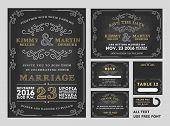 Vintage Chalkboard Wedding Invitations design sets poster