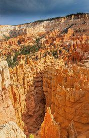 stock photo of hoodoo  - Hikers Walking Among Hoodoos Bryce Point Bryce Canyon National Park Utah - JPG