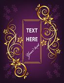 Vector Frame flowers.  Asymmetrical.  Purple and gold. (See raster version  Also In My Portfolio)