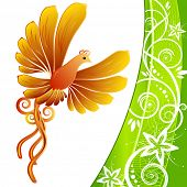 Orange Bird and green kerb decorated with beige patterns of flowers leaves spirals isolated on a white background JPG (See Vector  Also In My Portfolio)