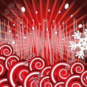 Vector version. Holiday background. Decor with rays, EQ, snowflakes and spirals on a red background.