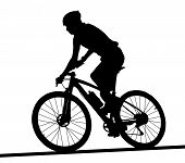 Side Profile Silhouette Of Male Mountain Bike Racer poster