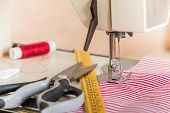 Sewing Machine. Hobby Sewing Fabric As A Small Business Concept poster
