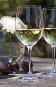 white wine glass on teak patio table - aviator sunglasses, flowers, trees in background