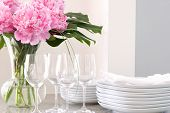 wine glasses, flowers, plates & napkins - elegant buffet