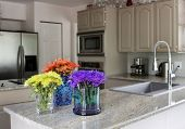 modern grey kitchen with vases of flowers on countertop - domestic life