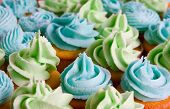 green and blue cupcakes - food background