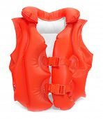 Red life-jacket. Necessary object for safe sailing.