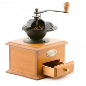 pic of wooden box from coffee mill  - wooden coffee grinder vintage isolated on white - JPG
