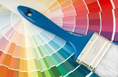 picture of color wheel  - color palette and brush with blue handle - JPG