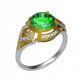 stock photo of peridot  - 3d rendering of a peridot ring on white bacground - JPG