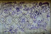 Постер, плакат: Texture Of A Fragment Of The Wall With Graffiti Painting Which Is Depicted On It An Image Of A Pie