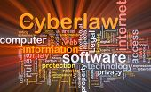 Background concept wordcloud illustration of cyberlaw glowing light