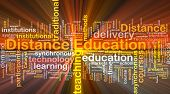 Background concept wordcloud illustration of distance education glowing light