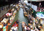 Traditional Thai floating market near Bangkok, Thailand.