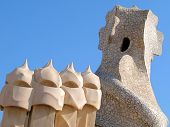 Abstract chimneys atop Antonia Gaudi's La Pedrera in Barcelona, Spain.  Built in 1906-1910.