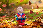 Child In Fall Park. Kid With Autumn Leaves. poster