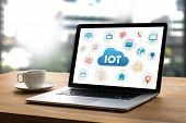 Iot Business Man Hand Working And Internet Of Things (iot) Word Diagram As Concept Use Browsing Inte poster