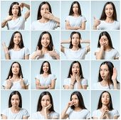Collage Of Beautiful Girl With Different Facial Expressions poster