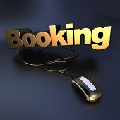 3D illustration of the word bookingin golden  connected to a computer mouse