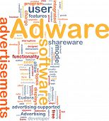 Background concept wordcloud illustration of adware