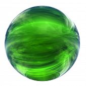 3d green glass sphere isolated on white,ideal for 3D symbols, web buttons or logo designs