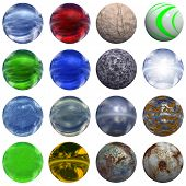 3d rusted steel, glass and gold spheres set or collection isolated on white,ideal for 3D symbols, we poster