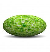 High resolution 3D green broken glass ovoid isolated on white ideal as a web button