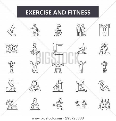 poster of Exercise And Fitness Line Icons, Signs Set, Vector. Exercise And Fitness Outline Concept, Illustrati