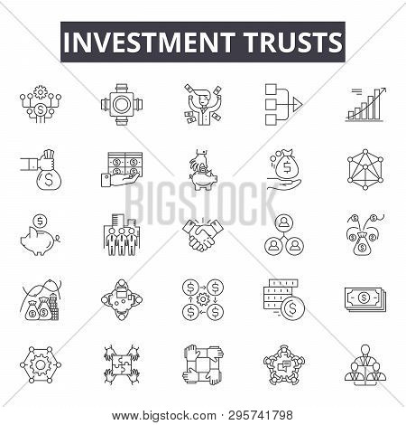 poster of Investment Trusts Line Icons, Signs Set, Vector. Investment Trusts Outline Concept, Illustration: In