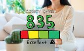 Excellent Credit Score Theme With Woman Using Her Laptop In Her Home Office poster