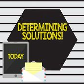 Word Writing Text Determining Solutions. Business Concept For Identifying Business Needs And Determi poster