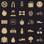 Bicycle Tour Icons Set. Simple Set Of 25 Bicycle Tour Vector Icons For Web For Any Design poster
