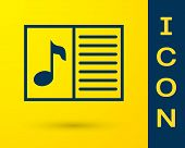 Blue Music Book With Note Icon Isolated On Yellow Background. Music Sheet With Note Stave. Notebook  poster