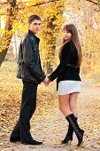 Young Beautiful Couple In Love Holding Hands Of Autumn Park