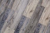 Modern Vinyl Floor With Old Wood Imitation. Close-up Of New Gray Flooring With Texture From Tiles Wi poster