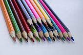 Color Pencils On A White Background, A Line Of Colored Pencils. Set Of Pencils. Childrens Creativity poster