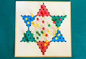 Top View Of Three-player Board Of Diamond Game (variant Of Chinese Checkers , Variation Of Halma Str poster