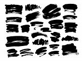 Collection Of Hand Drawn Vector Brush Strokes. Ink Illustration. Brush Strokes Text Boxes. Vector Pa poster