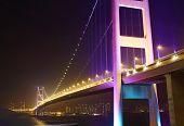 pic of tsing ma bridge  - Tsing Ma Bridge at night - JPG