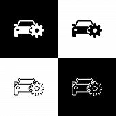 Set Car Service Icons On Black And White Background. Auto Mechanic Service. Mechanic Service. Repair poster