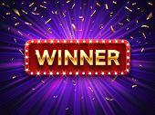 Winner Banner. Win Congratulations Vintage Frame, Golden Congratulating Framed Sign With Gold Confet poster