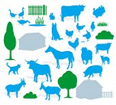 stock photo of animal husbandry  - farm animals silhouette  - JPG