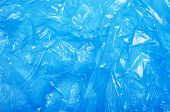 Blue Plastic Bag, Crumpled Cellophane, Packaging Material Texture Background poster