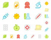 picture of first aid  - Set a simple flat icons  - JPG
